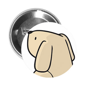 Round Pinback Button Pin Brooch Simple Boxy Beige Yellow Labrador Puppy Dog Cartoon - Sitting Dog #3 - Zoom