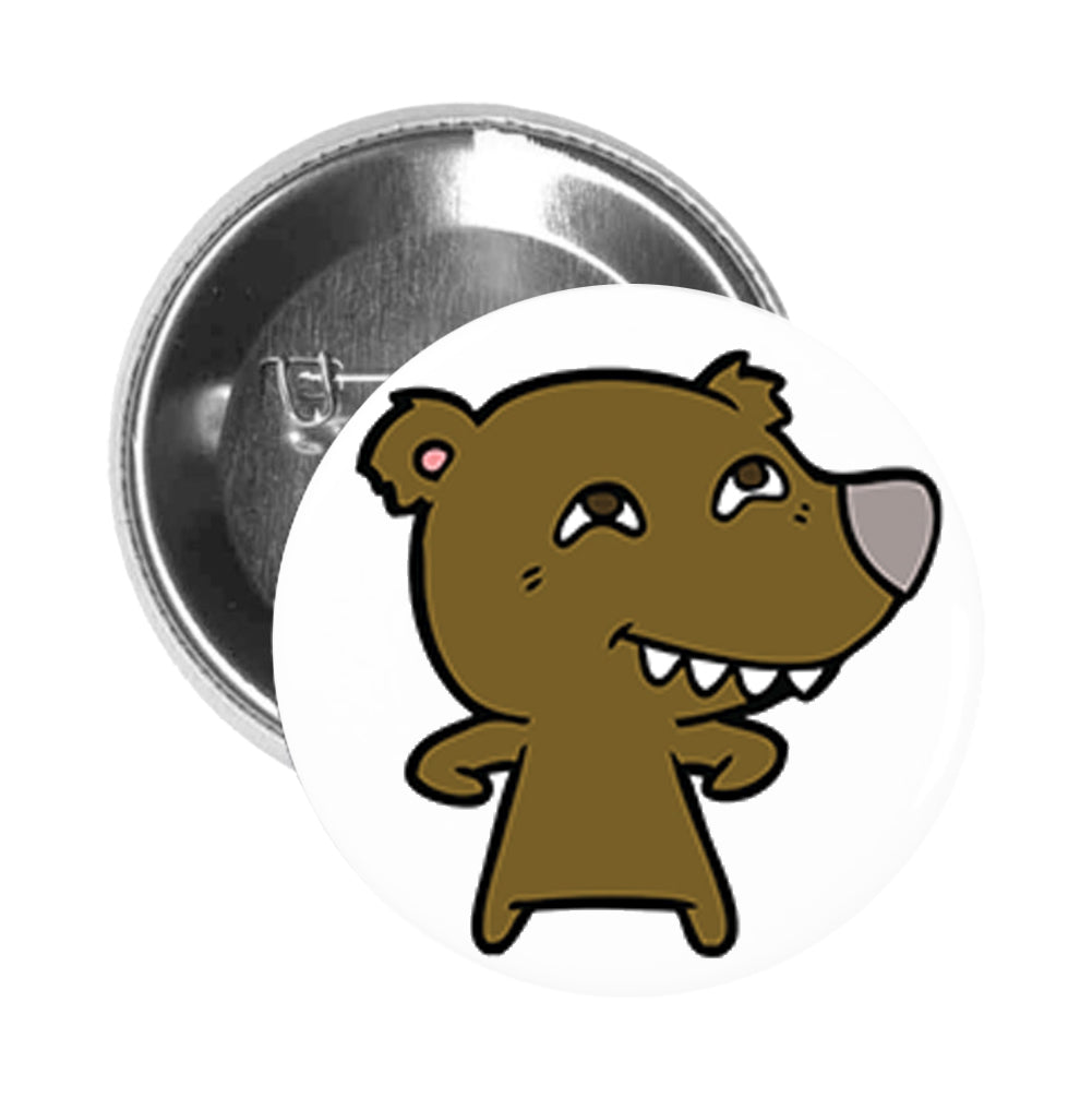 Round Pinback Button Pin Brooch Simple Brown Teddy Bear with Gray Nose Cartoon - Happy