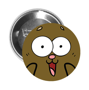 Round Pinback Button Pin Brooch Simple Brown Teddy Bear with Pink Nose Cartoon - Shocked - Zoom