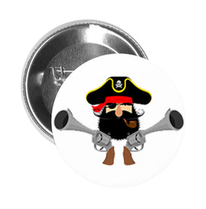 Round Pinback Button Pin Brooch Simple Curly Beard Mustache Pirate Captain with Guns Cartoon