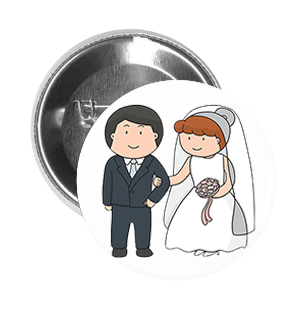 Round Pinback Button Pin Brooch Simple Cute Bride and Groom Wedding Couple Cartoon Art