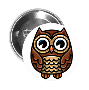 Round Pinback Button Pin Brooch Simple Cute Brown Owl Cartoon