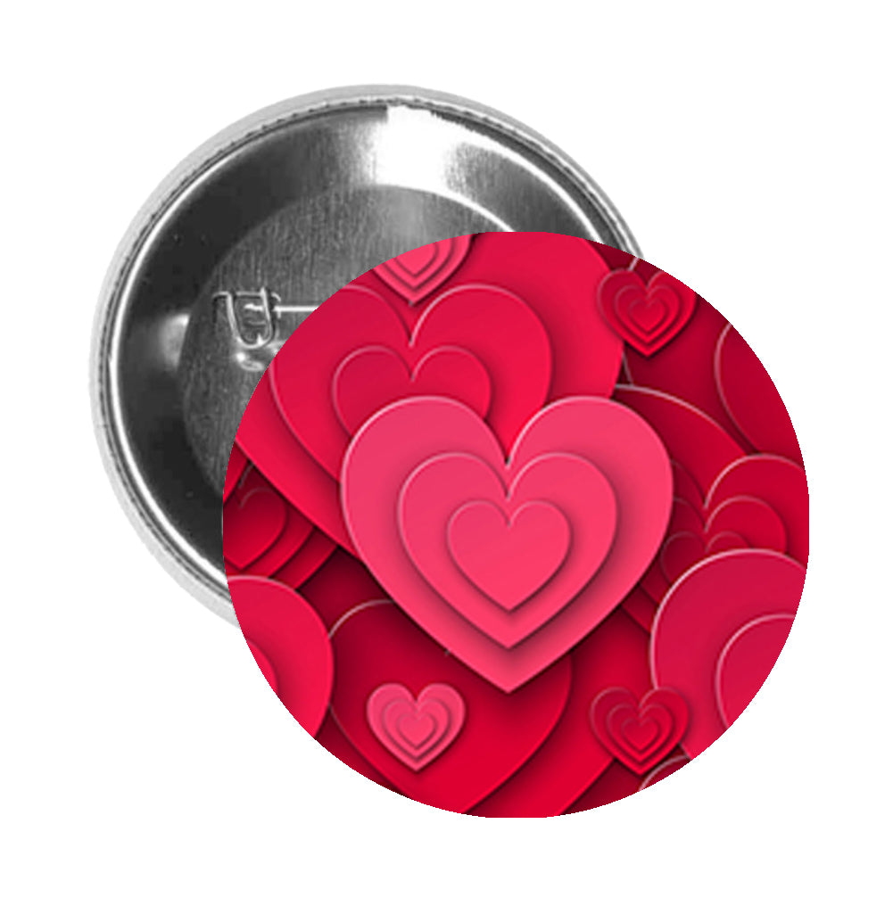 Round Pinback Button Pin Brooch Simple Layered Hearts Cartoon Valentine Icon Art - Zoom