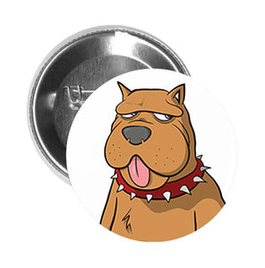 Round Pinback Button Pin Brooch Simple Lazy Brown Retro Puppy Dog with Spike Collar Cartoon