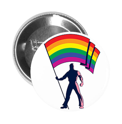 Round Pinback Button Pin Brooch Simple Man with Rainbow Gay Pride Flag Cartoon