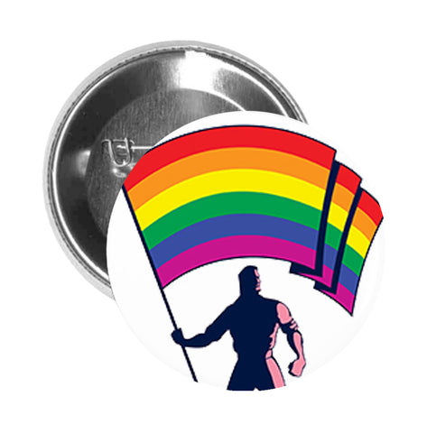 Round Pinback Button Pin Brooch Simple Man with Rainbow Gay Pride Flag Cartoon - Zoom