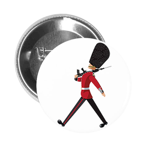 Round Pinback Button Pin Brooch Simple Marching Queen's Guard Cartoon