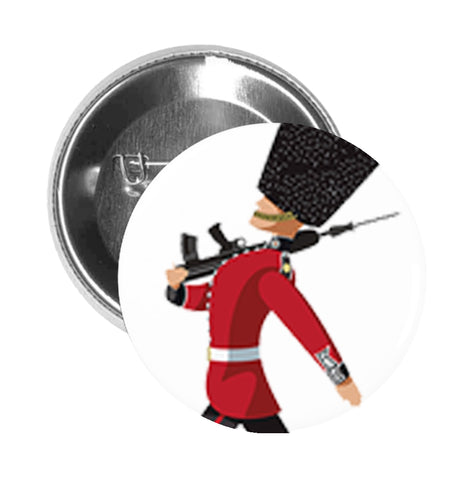 Round Pinback Button Pin Brooch Simple Marching Queen's Guard Cartoon - Zoom
