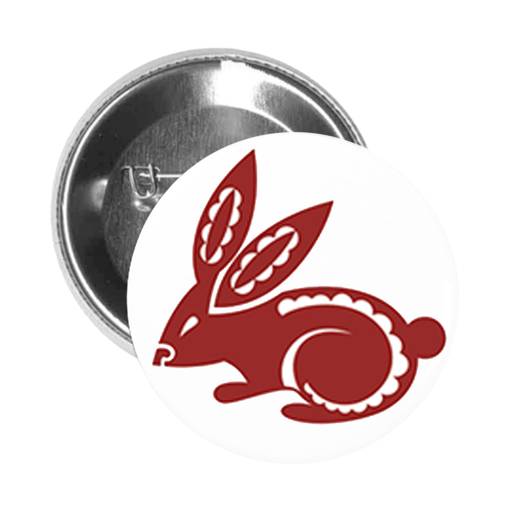 Round Pinback Button Pin Brooch Simple Maroon Chinese Astrology Zodiac Character Cartoon Icon - Rabbit - Zoom