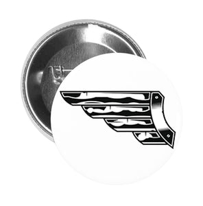 Round Pinback Button Pin Brooch Simple Metal Car Wing Emblem Cartoon Icon - Left
