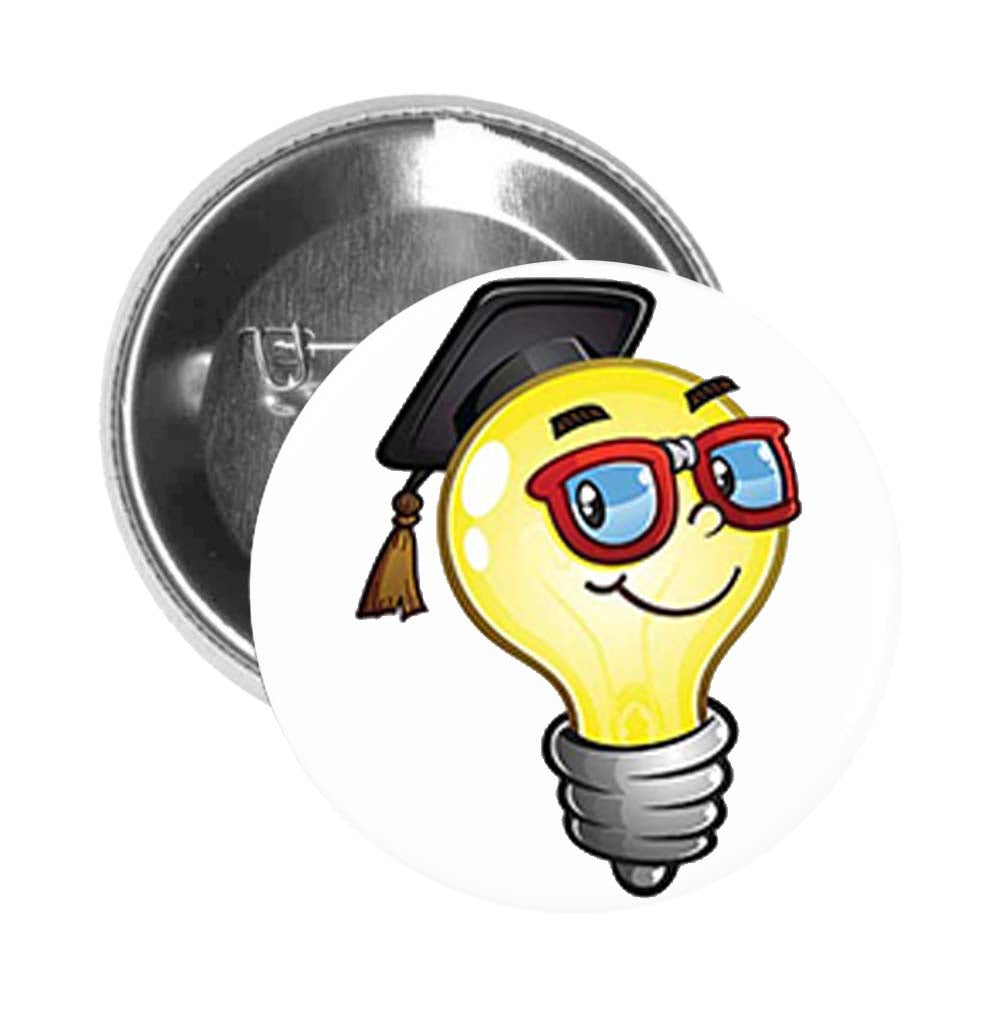 Round Pinback Button Pin Brooch Simple Nerdy Graduate Brain Lightbulb Idea Cartoon Emoji