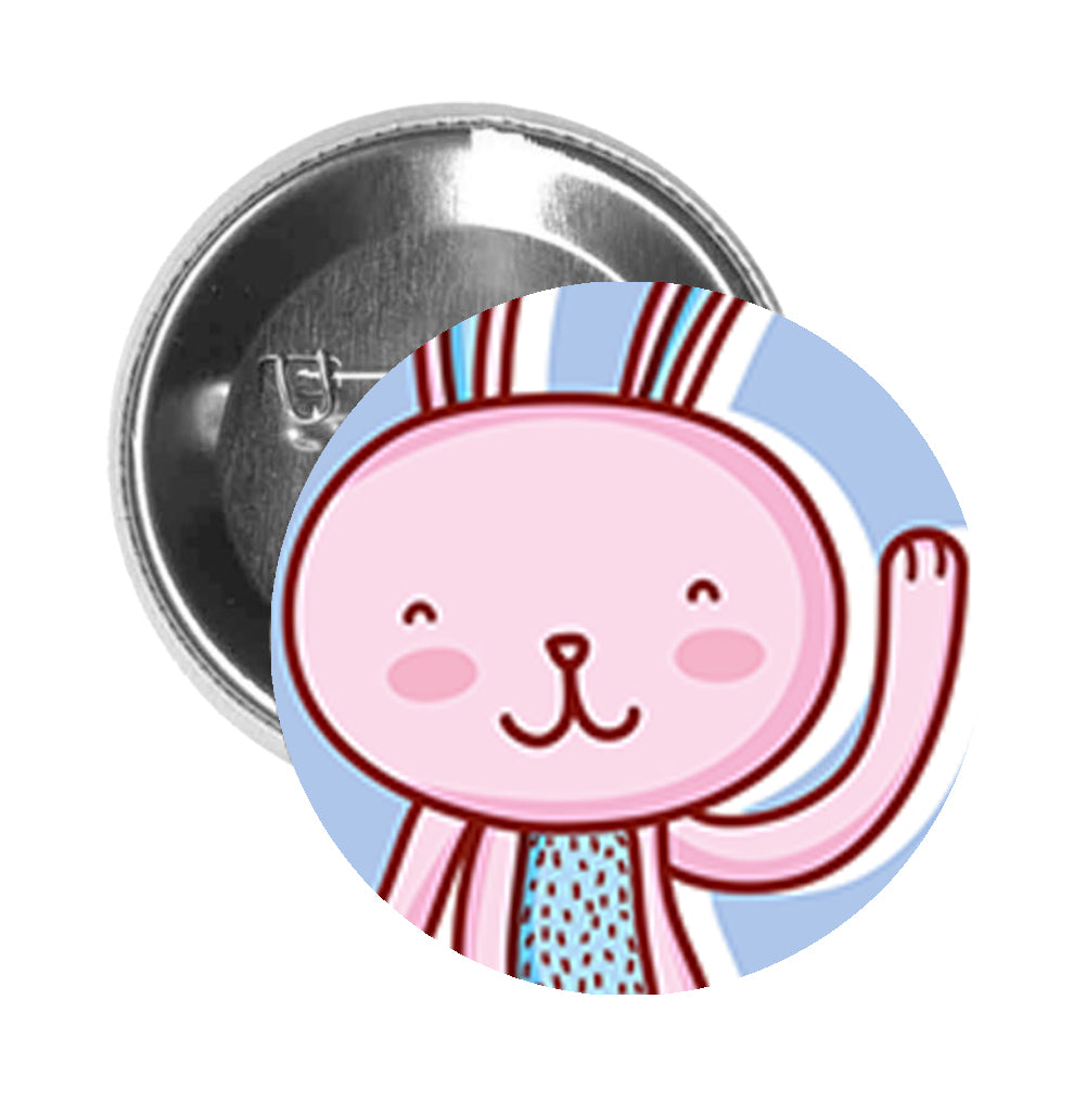 Round Pinback Button Pin Brooch Simple Pink Easter Bunny Rabbit Cartoon - Dancing Rabbit Icon Purple - Zoom