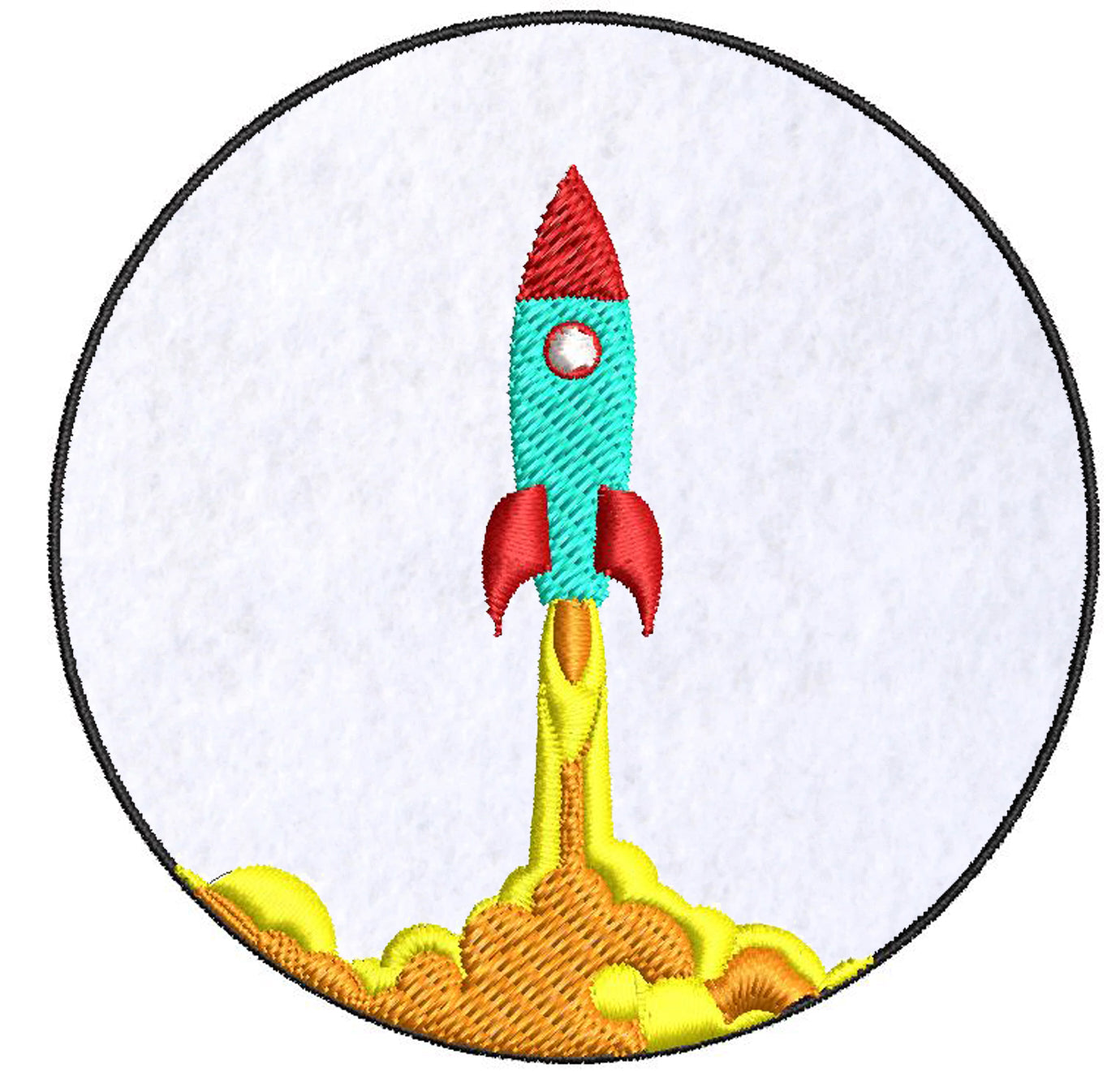 Iron on / Sew On Patch Applique Simple Rocket Space Ship Cartoon Icon Embroidered Design