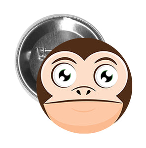 Round Pinback Button Pin Brooch Simple Silly Curious Monkey Cartoon Emoji Head #3 - Zoom