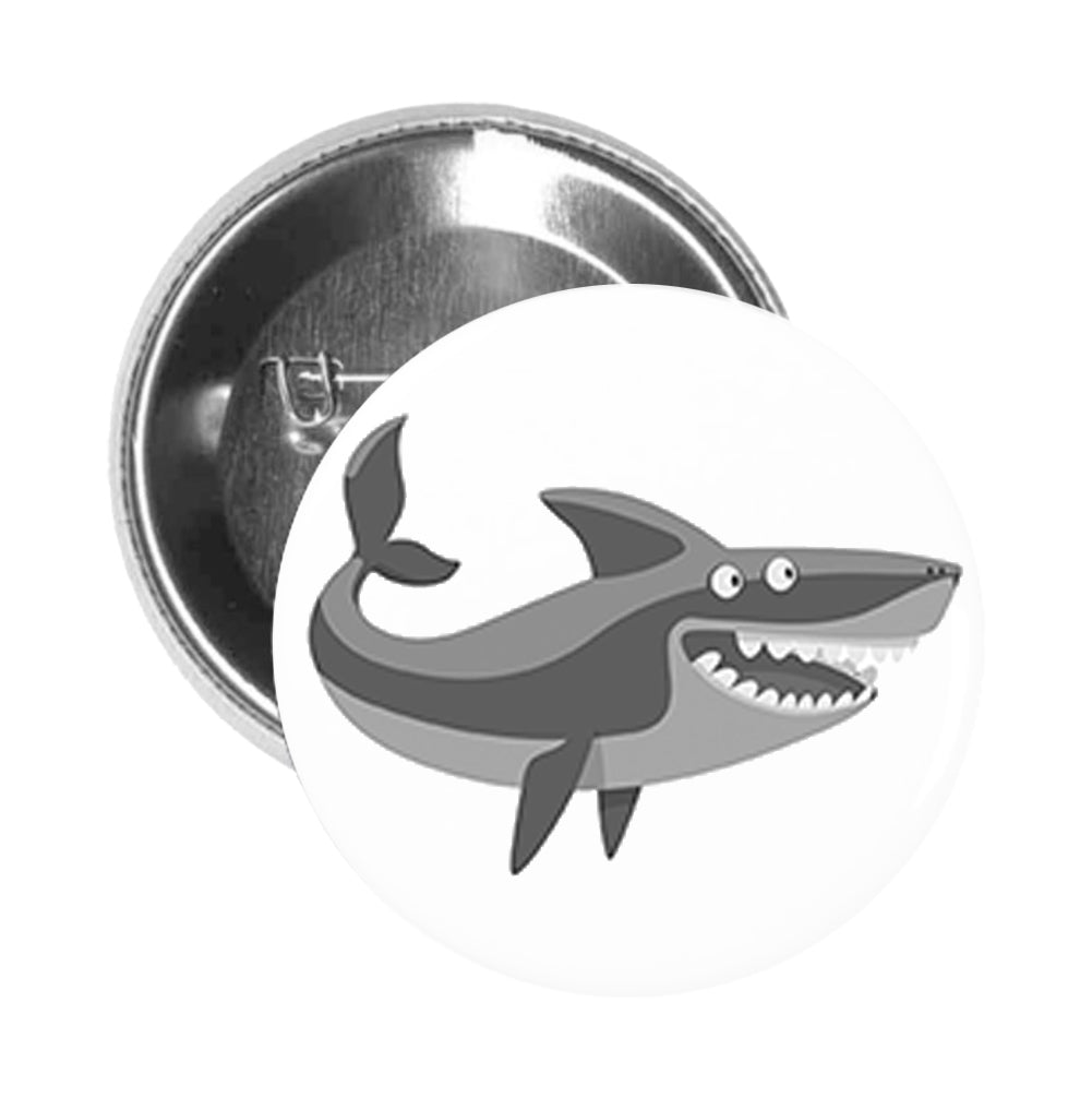 Round Pinback Button Pin Brooch Simple Silly Gray Shark Emoji Cartoon - Open Mouth Shark #4