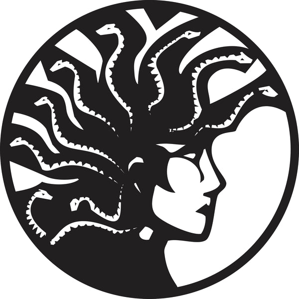 Simple Black And White Medusa Head Icon Vinyl Decal Sticker