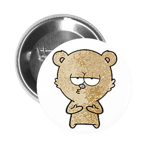 Round Pinback Button Pin Brooch Simple Cute Teddy Bear Cartoon Emoji - Brown Flirty Bear