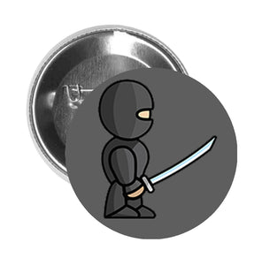 Round Pinback Button Pin Brooch Simple Cute Warrior Soldier Cartoon Emoji - Ninja - Grey