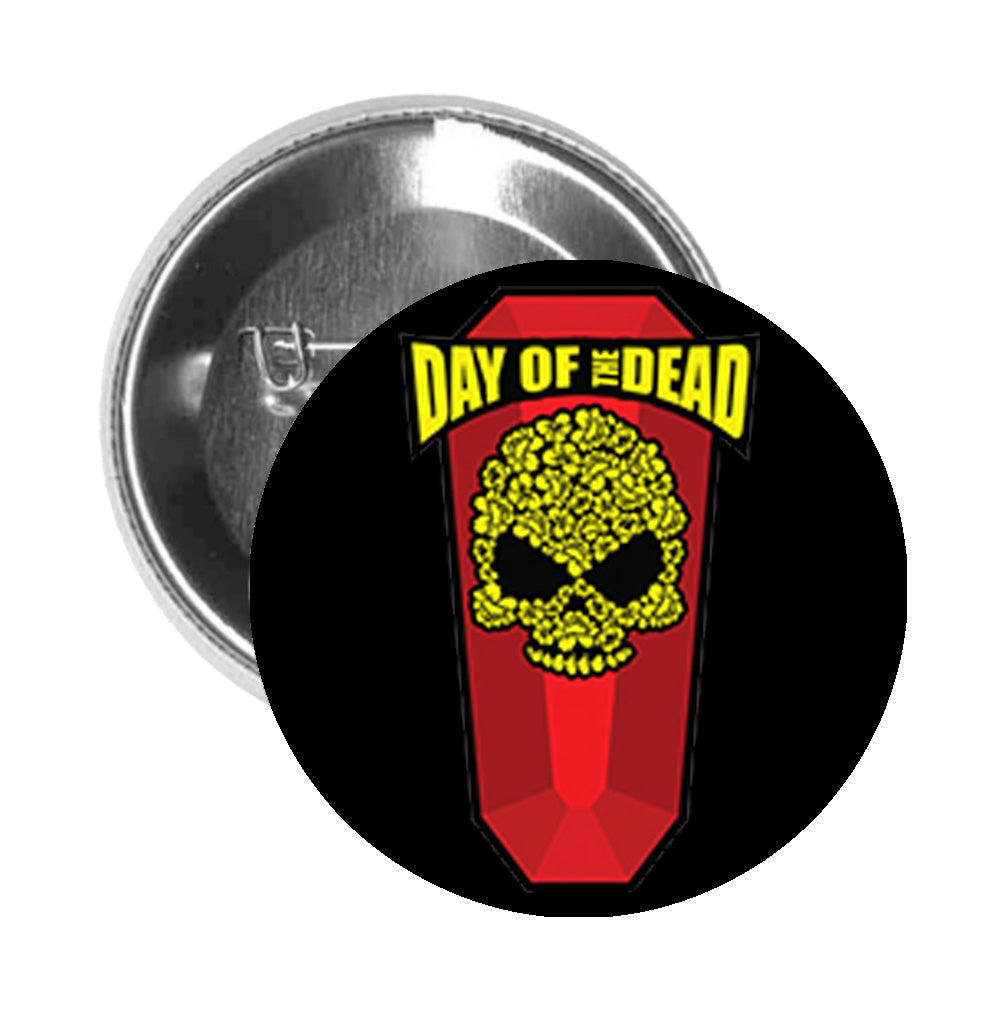 Round Pinback Button Pin Brooch Simple Day of the Dead Skull on Coffin Cartoon Icon - Black