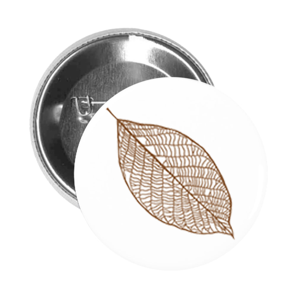 Round Pinback Button Pin Brooch Simple Delicate Nature Forest Leaf Cartoon Art - Brown Leaf #1