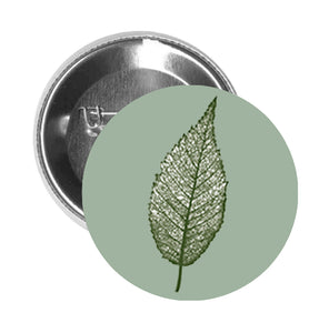 Round Pinback Button Pin Brooch Simple Delicate Nature Forest Leaf Cartoon Art - Green Leaf #6 - Sage