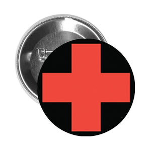 Round Pinback Button Pin Brooch Simple Everyday Sign Cartoon Icon - First Aid Care