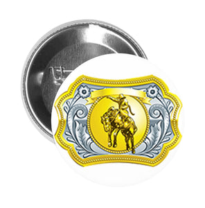 Round Pinback Button Pin Brooch Simple Gold Silver Cowboy Belt Buckle Cartoon Icon #1