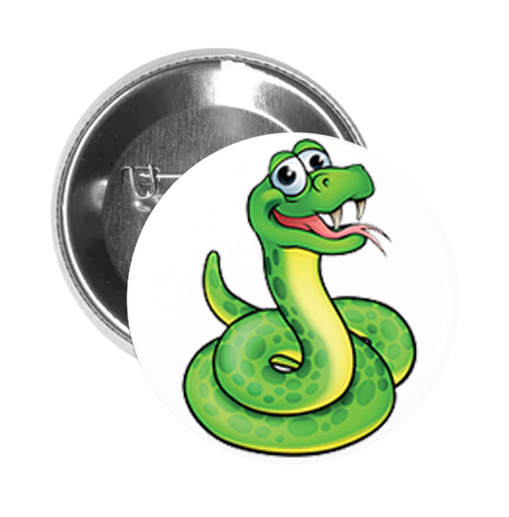 Round Pinback Button Pin Brooch Simple Green Nursery Snake Cartoon