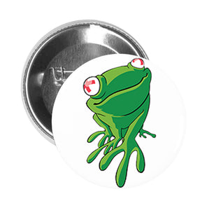 Round Pinback Button Pin Brooch Simple Green Poisonous Frog with Red Eyes Cartoon