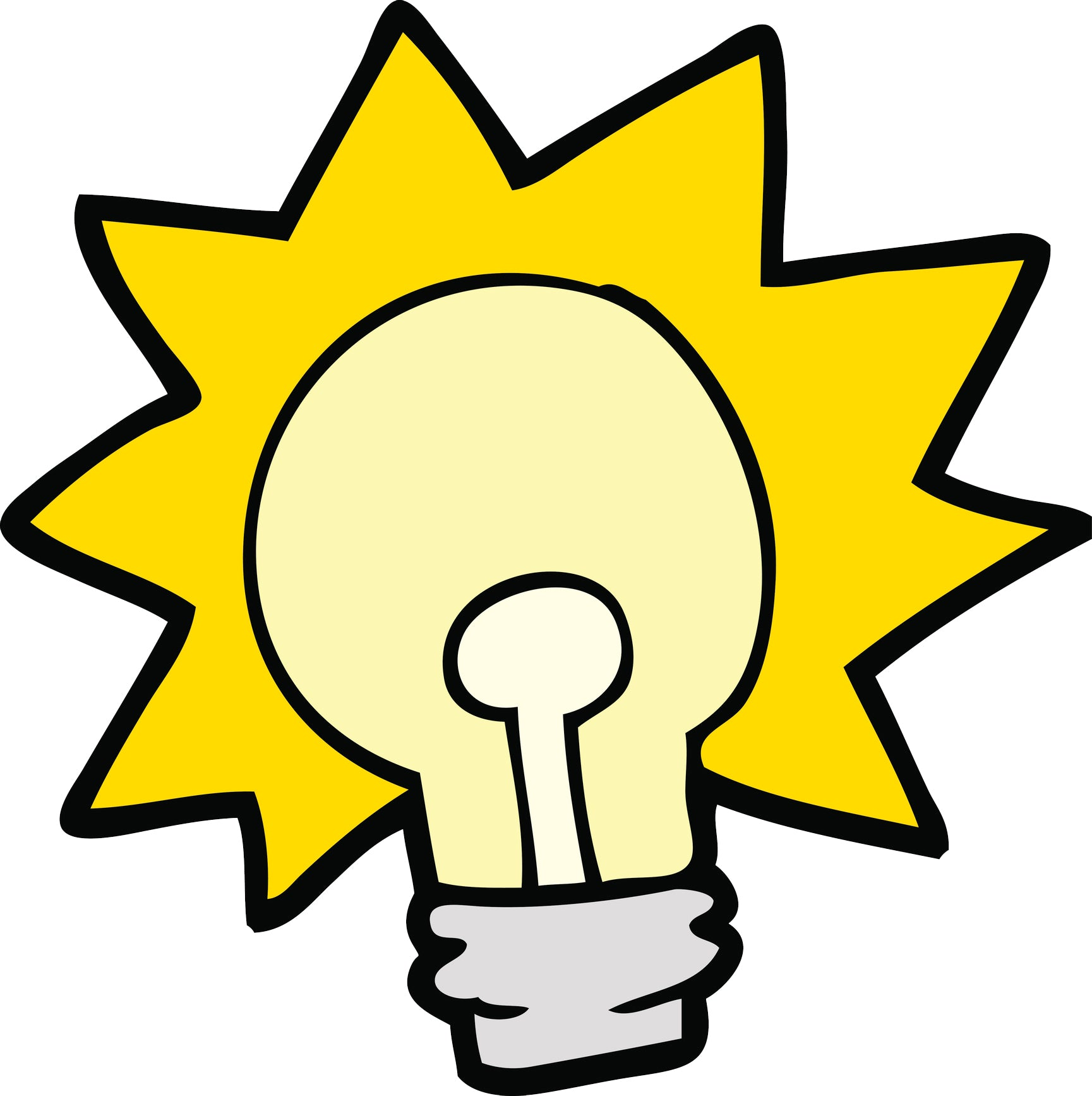 Simple Retro Light Bulb Idea Cartoon Drawing Vinyl Decal Sticker