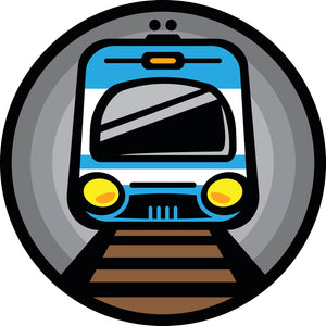 Simple Retro Public Transportation Train Subway Cartoon Icon Vinyl Decal Sticker