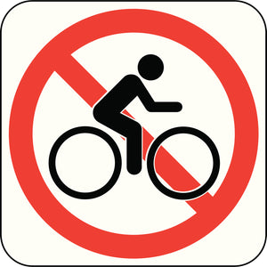 Simple Road Sign Cartoon Icon - No Biking Vinyl Decal Sticker