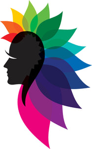 Simple Side Profile Silhouette with Rainbow Mohawk Cartoon Vinyl Decal Sticker
