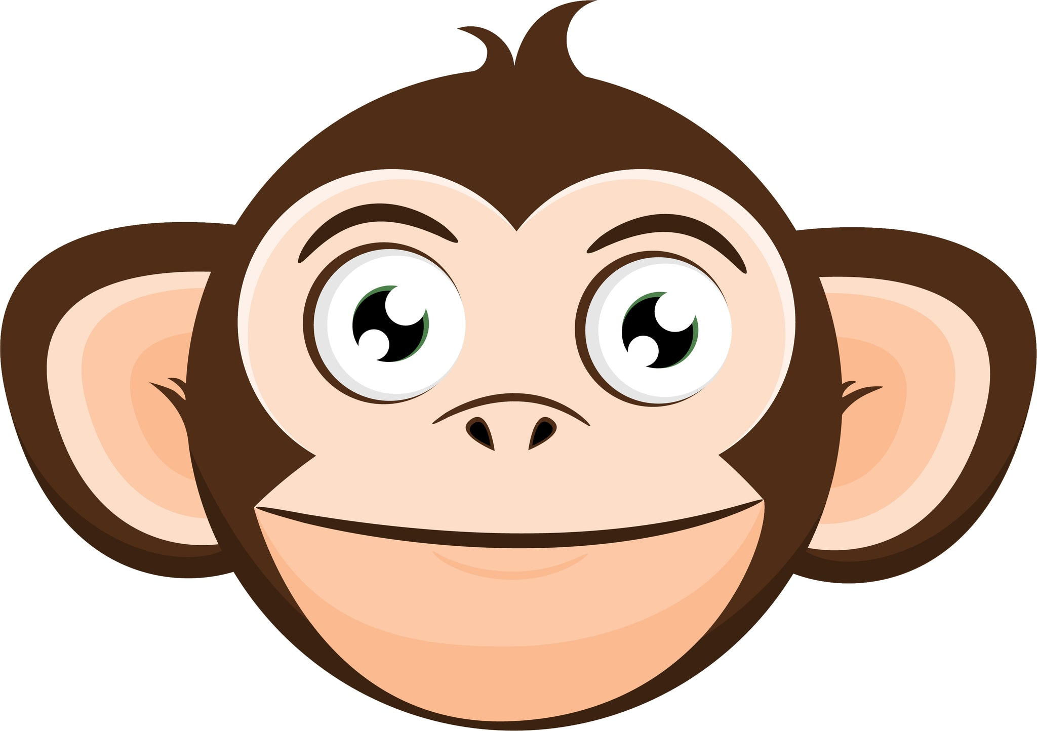 Simple Silly Curious Monkey Cartoon Emoji Head #1 Vinyl Decal Sticker