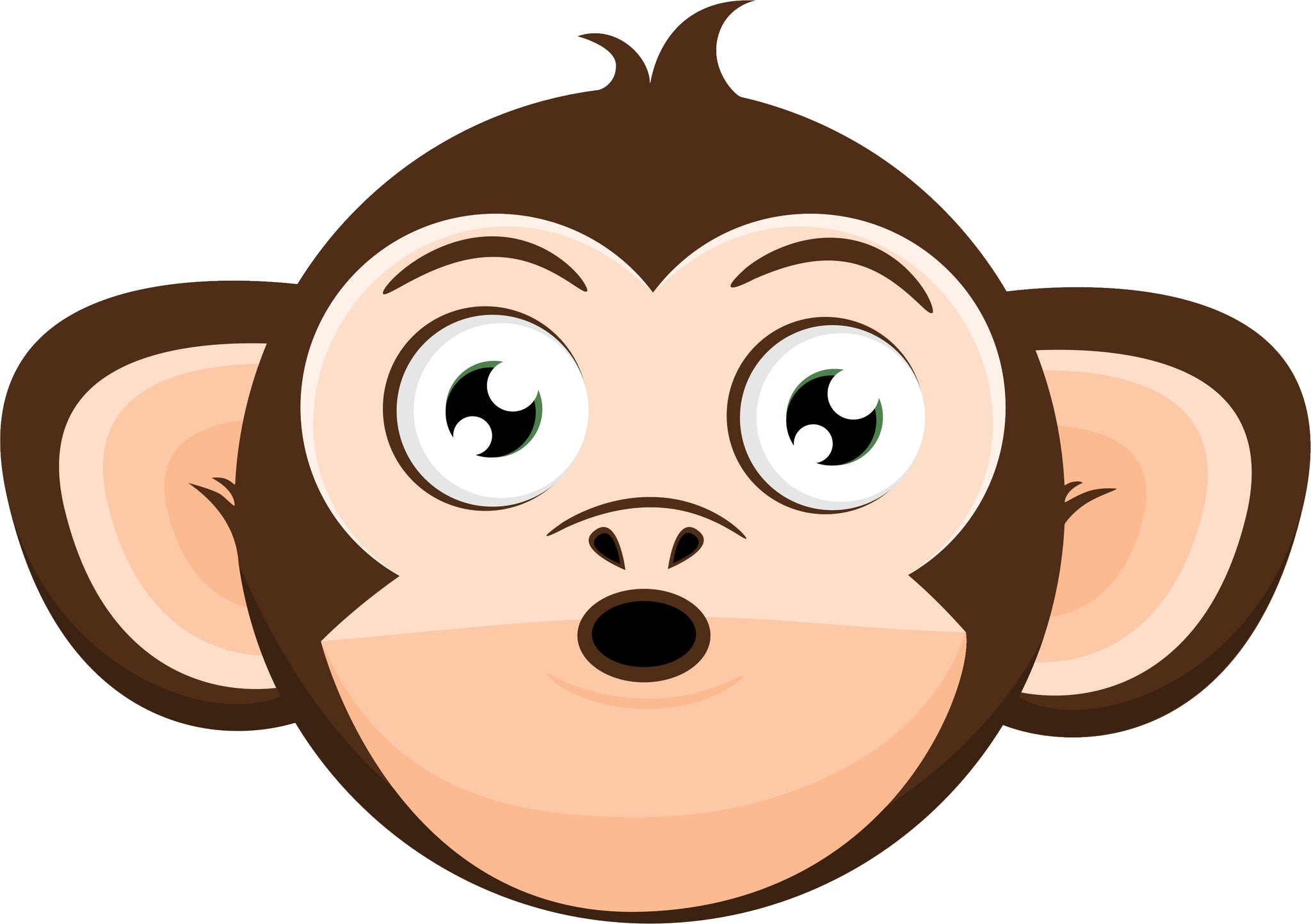 Simple Silly Curious Monkey Cartoon Emoji Head #2 Vinyl Decal Sticker