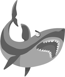 Simple Silly Gray Shark Emoji Cartoon - Open Mouth Shark #1 Vinyl Decal Sticker