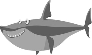 Simple Silly Gray Shark Emoji Cartoon - Smiling Shark #1 Vinyl Decal Sticker