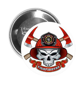 Round Pinback Button Pin Brooch Simple Skull Fire Department Red Helmet Fire Fighter Cartoon Icon