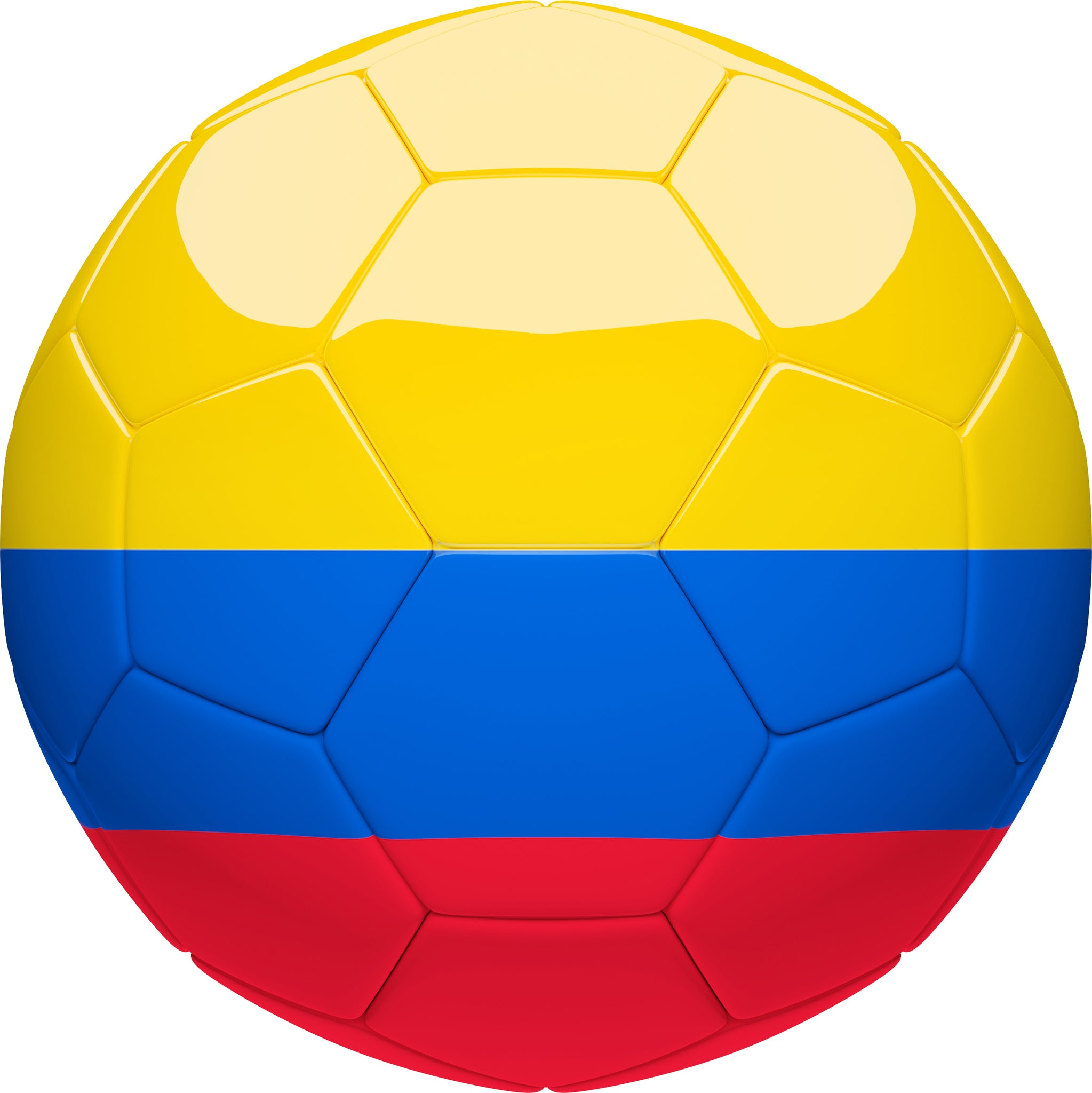Simple Soccer Futbol Sport Ball with Team Country Flag Pattern - Colombia Vinyl Decal Sticker