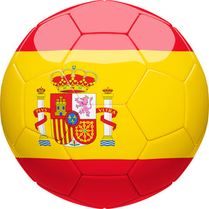 Simple Soccer Futbol Sport Ball with Team Country Flag Pattern - Spain Vinyl Decal Sticker