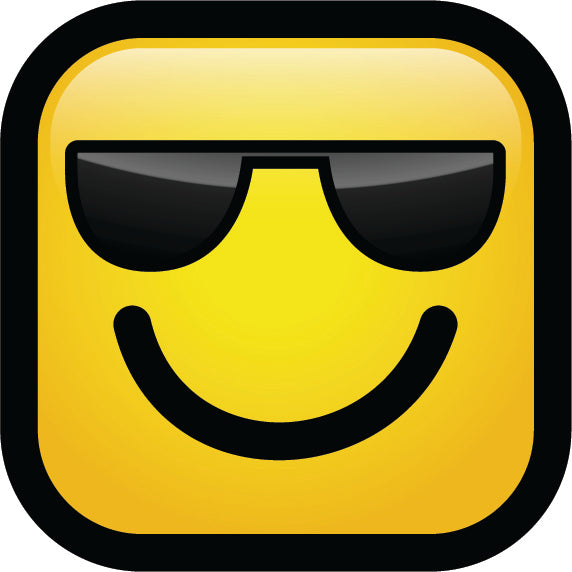 Simple Square Block Emoticon Emoji Cartoon Icon - Cool Shades Vinyl Decal Sticker