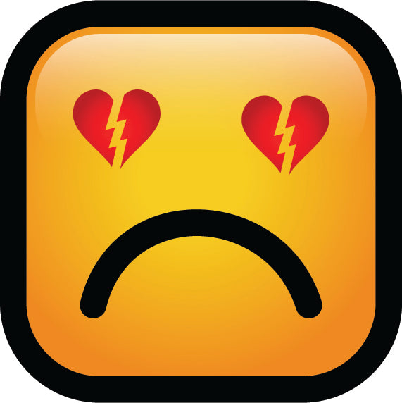Simple Square Block Emoticon Emoji Cartoon Icon - Heart Broken Vinyl Decal Sticker