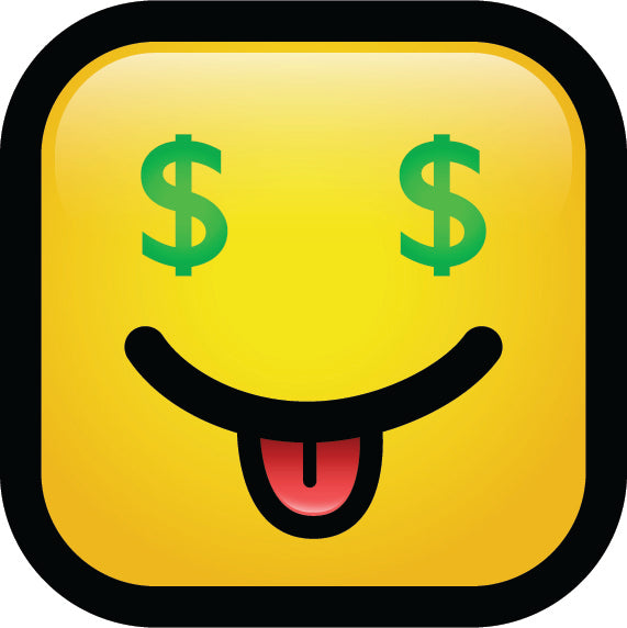 Simple Square Block Emoticon Emoji Cartoon Icon - Money Eyes Vinyl Decal Sticker