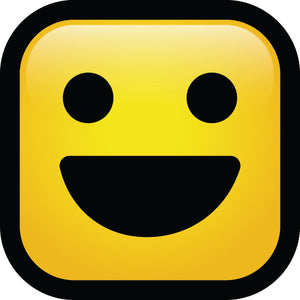 Simple Square Block Emoticon Emoji Cartoon Icon - Open Smile Vinyl Decal Sticker