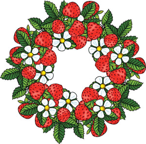 Simple Strawberry Flower Wreath Cartoon Vinyl Decal Sticker