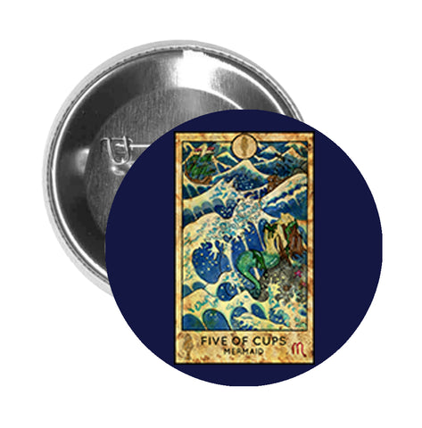 Round Pinback Button Pin Brooch Simple Tarot Card Cartoon Icon - Five of Cups Mermaid - Blue