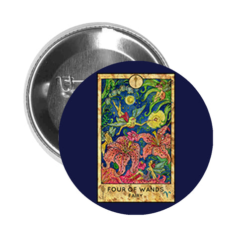 Round Pinback Button Pin Brooch Simple Tarot Card Cartoon Icon - Four of Wands Fairy - Blue