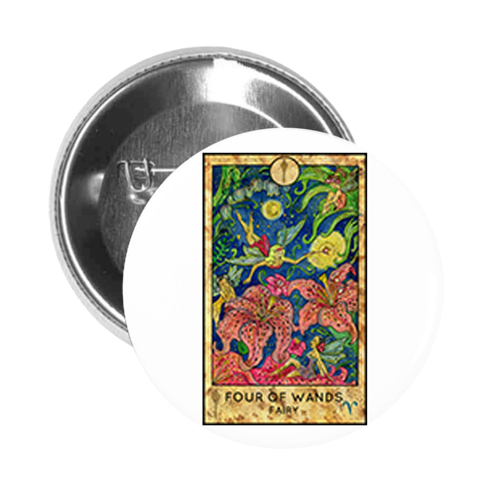 Round Pinback Button Pin Brooch Simple Tarot Card Cartoon Icon - Four of Wands Fairy