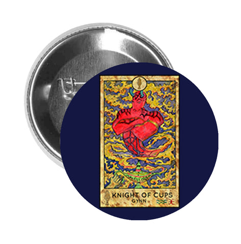 Round Pinback Button Pin Brooch Simple Tarot Card Cartoon Icon - Knight of Cups Gynn - Blue