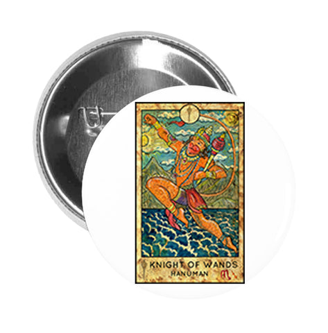 Round Pinback Button Pin Brooch Simple Tarot Card Cartoon Icon - Knight of Wands Hanuman